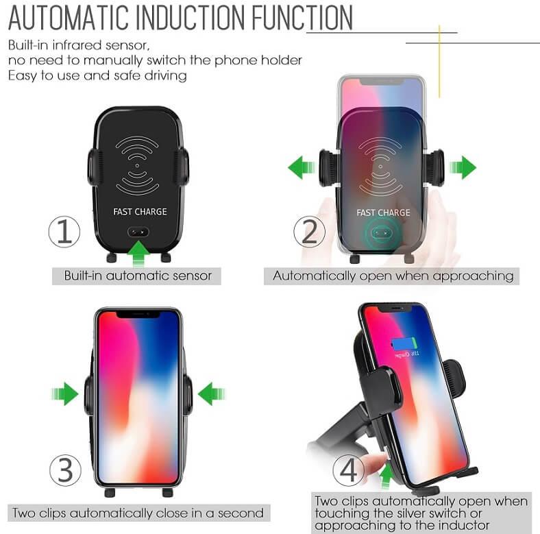 Mobilhållare och trådlös laddare