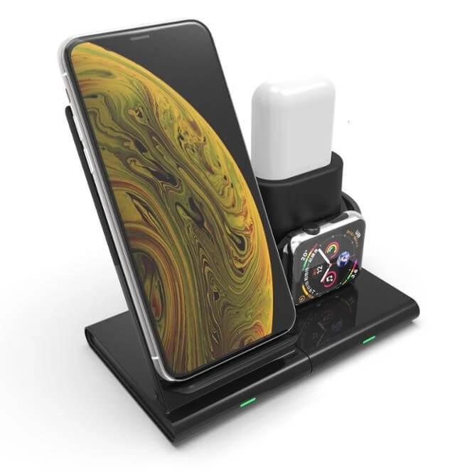 Smart 3 i 1 Trådlös Laddare för Apple Watch, telefon och AirPods